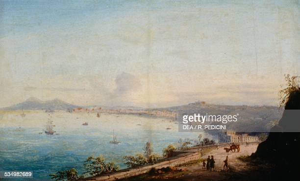 Road to Posillipo by Achille Gigante oil on canvas 155x25 cm Italy 19th century