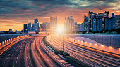 Singapore city at sunset