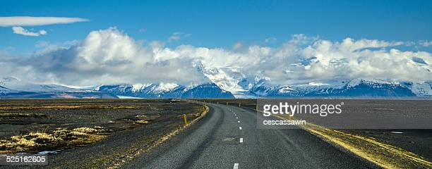 Road to snowy mountains
