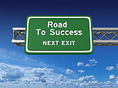 Road To Success Highway Sign - 3D Rendering
