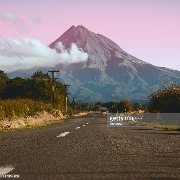 Road to Taranaki volcano, New Zealand