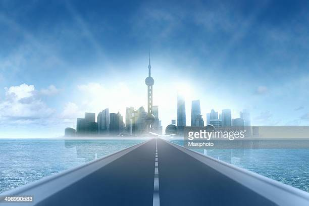 Road to the future: reaching modern city skyline, skyscrapers horizon