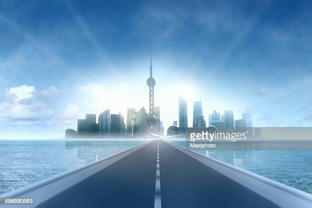 Road を将来: 誇るモダンな超高層ビルの街並み、水平線