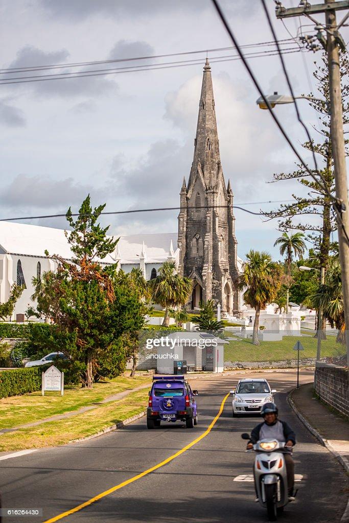 Road Traffic and Church on Bermuda : Stock Photo