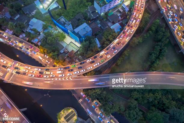 Road traffic in city at thailand .