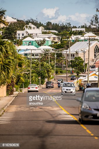 Road Traffic on Bermuda : Stock Photo