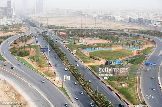 Road traffic passes through a highway intersection surrounded by residential neighborhoods in Riyadh Saudi Arabia on Sunday Jan 10 2016 Saudi Arabian...