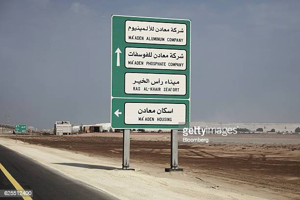 A road traffic sign for the Ma'aden site locations sits at the entrance to the Ras Al Khair Industrial City complex in Ras Al Khair Saudi Arabia on...