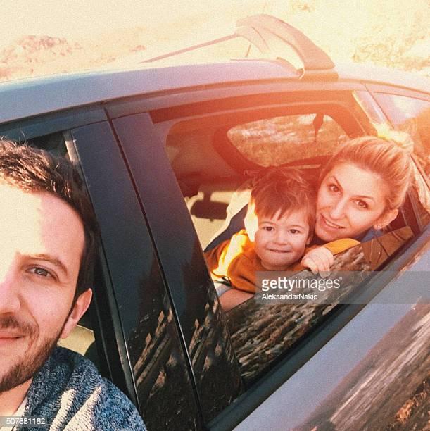 Road trip selfie of my family