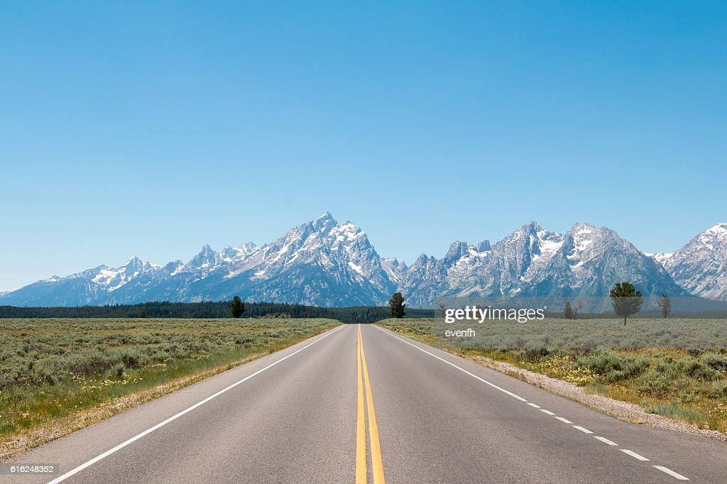 Road trip through Wyoming and Grand Teton National Park : Stock Photo