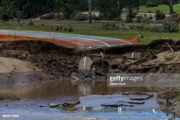 A road washed away by the Albert River on April 3 2017 in Yatala Australia Heavy rain caused flash flooding across south east Queensland and Northern...