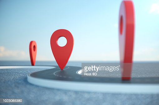 Road way location Infographic with pin pointers. Road way with red pointers. Road way on cloudy blue sky background. 3D illustration : Stock Photo