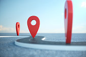 Road way location Infographic with pin pointers. Road way with red pointers. Road way on cloudy blue sky background, 3D illustration