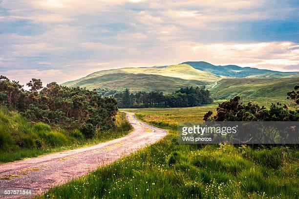 Road winding across moorland, Isle of Jura