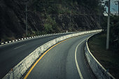 Road up the mountain with dangerous curves.