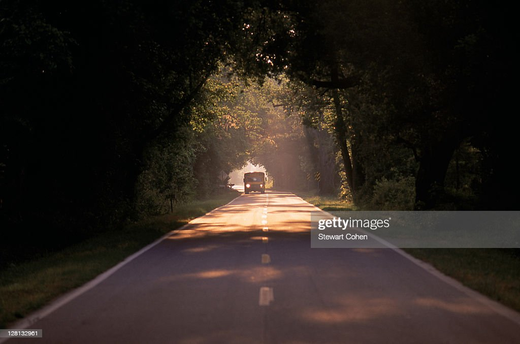 Road with school bus, SC : Stock Photo