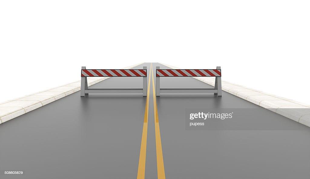 Estrada com duas barreiras rodoviárias fundidas : Foto de stock
