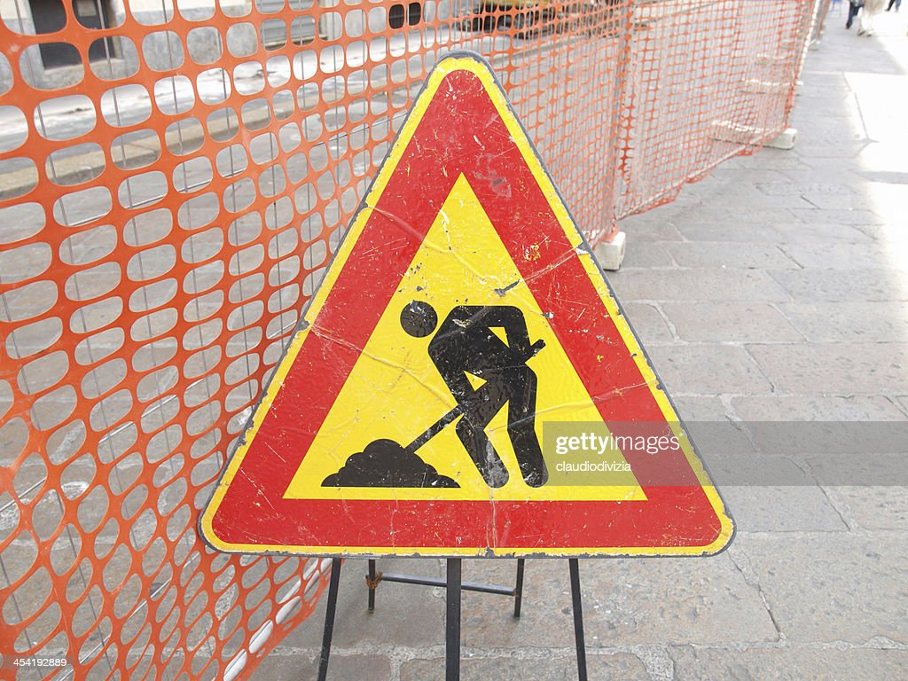 Road work sign : Stock Photo
