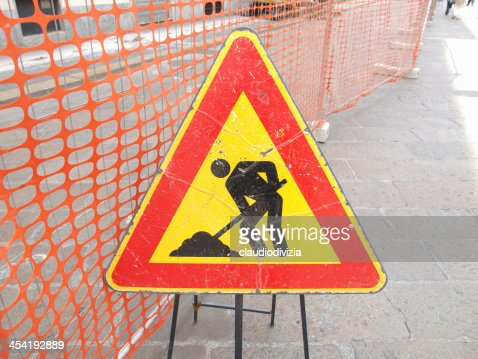 Carretera señal de trabajo : Foto de stock