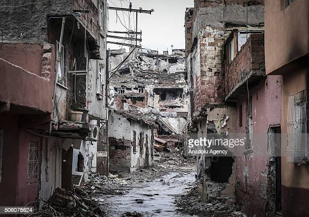 Roads and buildings blocked and damaged by PKK terrorists are seen as Turkish Security Forces carry out a counter terrorism operation against...