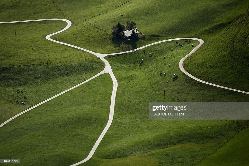 Roads, herds of cows and a chalet are picked out by the autumnal light from the 1,989 metres high Stanserhorn mountain, Central Switzerland on October 6, 2012. AFP PHOTO / FABRICE COFFRINI
