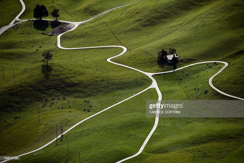 Roads, herds of cows and a chalet are picked out by the autumnal light from the 1,989metres high Stanserhorn mountain, Central Switzerland on October 6, 2012.