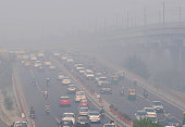 Roads in the capital choked with smog after Diwali celebrations on November 13 2015 in New Delhi India Pollution soared to hazardous levels in Delhi...