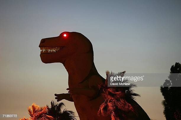 A roadside attraction dinosaur towers over the desert near the San Andreas Fault on July 1 2006 in Cabazon California Scientists have warned that...