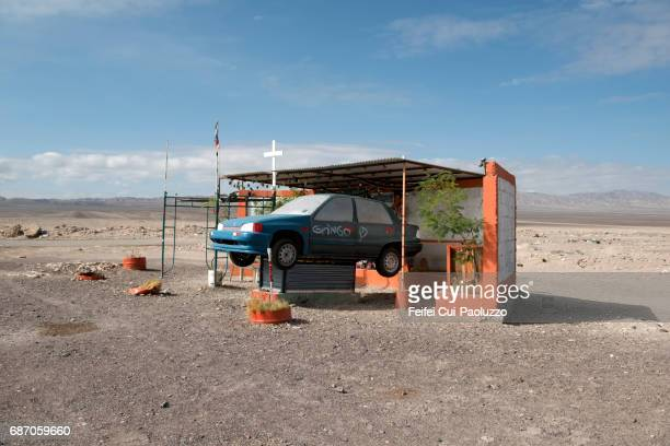 Roadside memorial cross at Calama,  El Loa Province, Antofagasta Region, Northern Chile