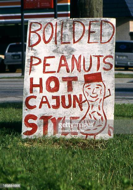 A roadside sign with a misspelled word lures motorists with boiled peanuts near Daytona Beach Florida 5104602RA_Florida169jpg