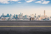 3d rendering roadside with cityscape background