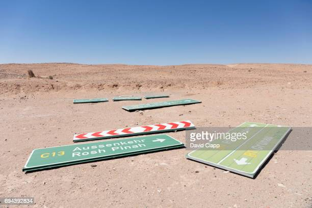 Roadsigns on the ground in Namibia