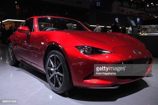 Roadster RF is displayed at the Mazda Motor Co booth during the Tokyo Motor Show at Tokyo Big Sight on October 25 2017 in Tokyo Japan