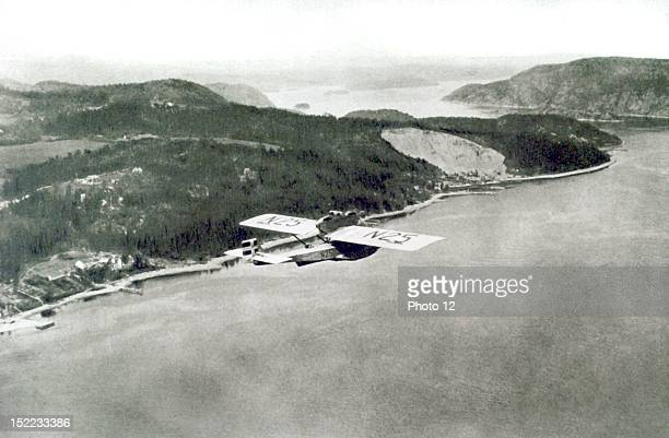 1925 Roald Amundsen's expedition to the North Pole Hydroplane N25 flying over the Oslo fjord taking Amundsen and his companions to Oslo