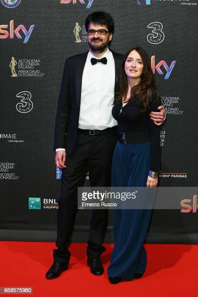 Roan Johnson and his wife walk the red carpet of the 61 David Di Donatello on March 27 2017 in Rome Italy