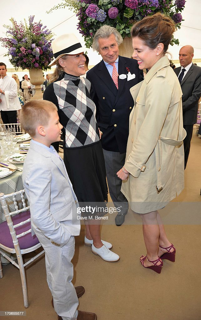 Roan Joseph Bronstein, Sharon Stone, Arnaud Bamberger and Charlotte Casiraghi attend the Cartier Queen's Cup Polo Day 2013 at Guards Polo Club on June 16, 2013 in Egham, England.