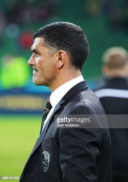 Roar Coach John Aloisi during the round 26 ALeague match between the Perth Glory and Brisbane Roar at nib Stadium on April 8 2017 in Perth Australia