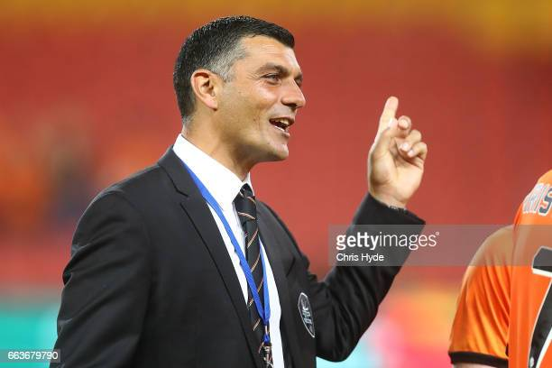 Roar coach John Aloisi smiles afetr winning the round 25 ALeague match between the Brisbane Roar and the Central Coast Mariners at Suncorp Stadium on...