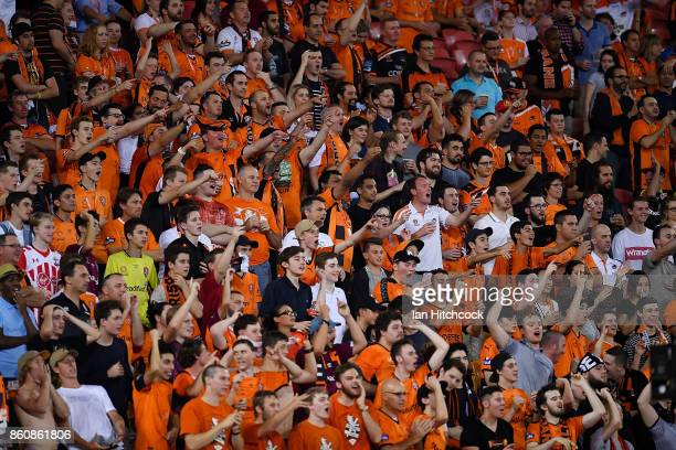Roar fans show their support during the round two ALeague match between the Brisbane Roar and Adelaide United at Suncorp Stadium on October 13 2017...