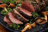 Roast beef and mushrooms on platter