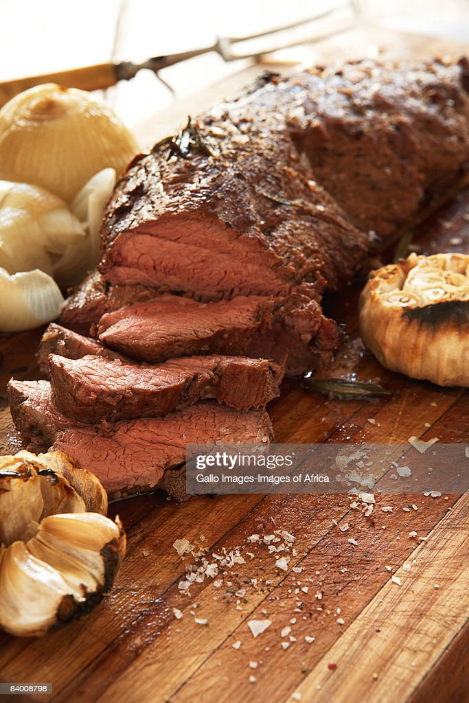 Roast beef & roasted onions : Stock Photo