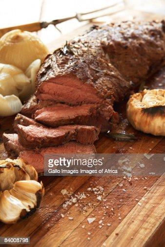 Roast beef & roasted onions : Stock Photo