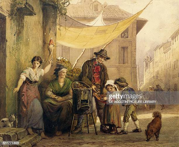 Roast chestnut stand on the Via Sistina in Rome by Arnoldo Corrodi watercolour on paper Italy 19th century Rome Museo Di Roma In Trastevere