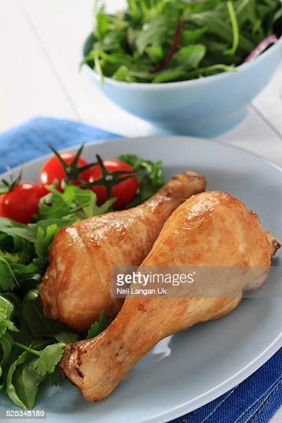 roast chicken drumsticks with salad