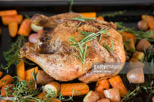 A roast chicken on a baking tray with rosemary, carrots, potatoes and sweet potatoes