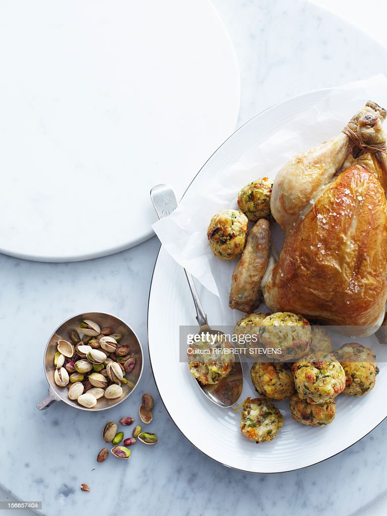 Roast chicken with pistachio stuffing