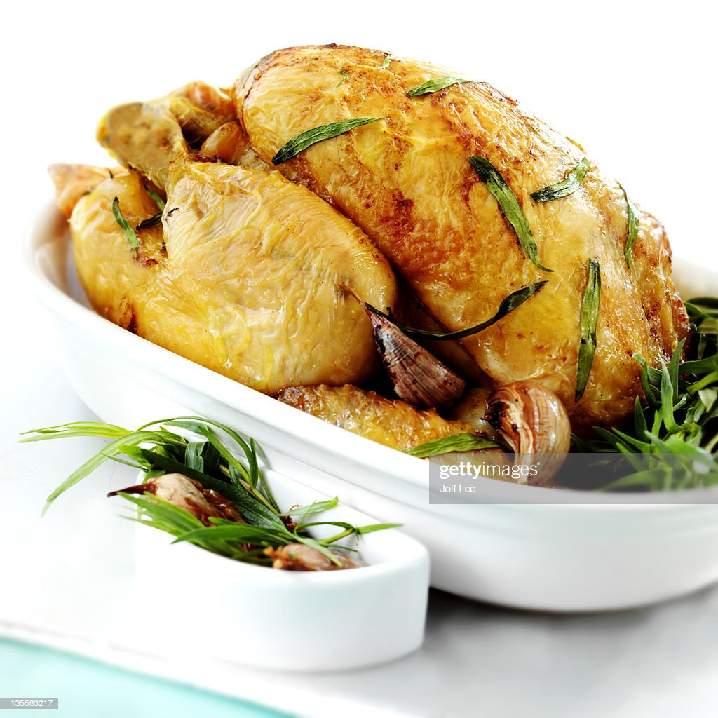 Roast chicken with tarragon and garlic