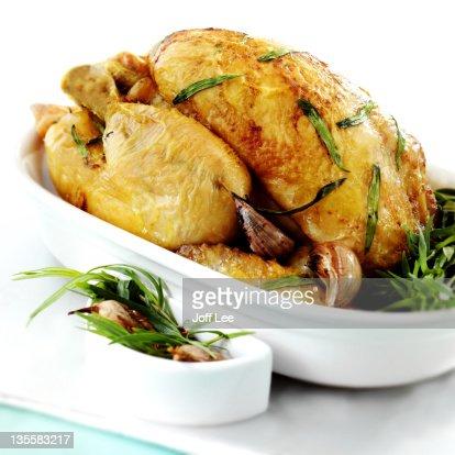 Roast chicken with tarragon and garlic