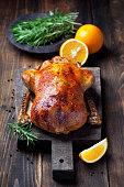 Roast duck in orange glaze, selective focus
