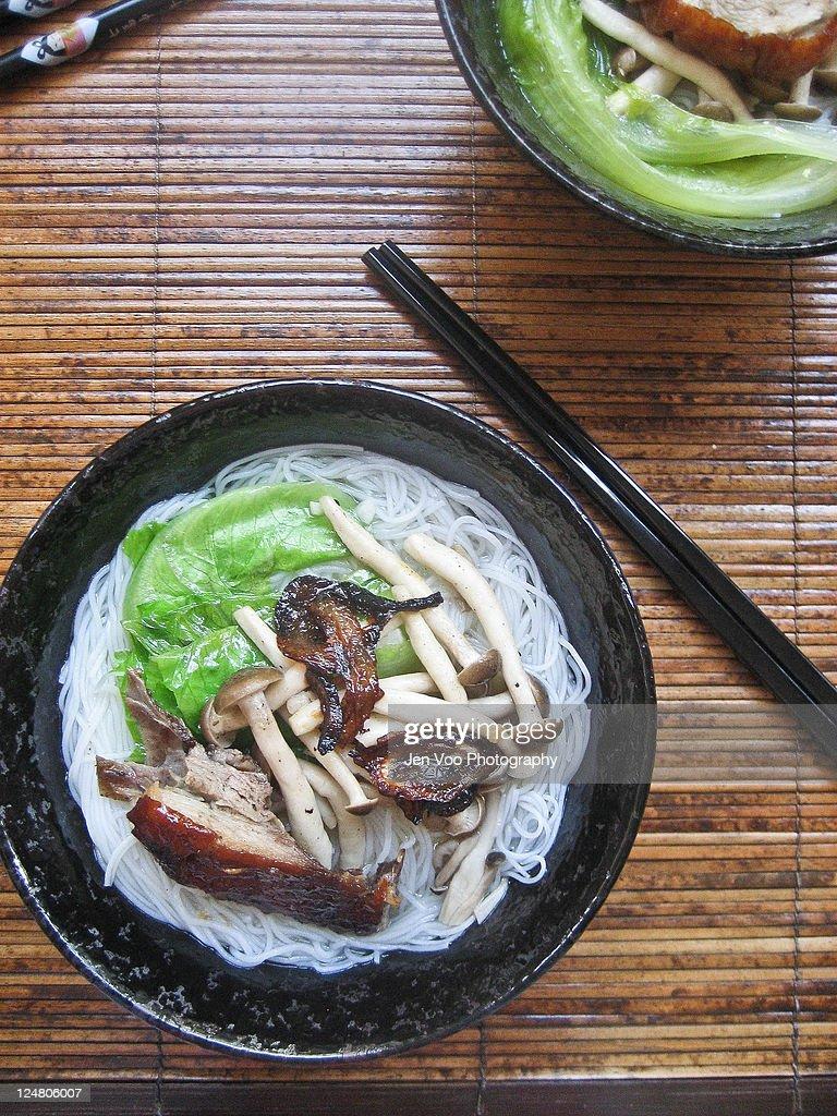 Roast duck rice noodles soup : Stock Photo